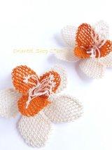 手作りアクセに☆シルク糸:イーネオヤ|大きなお花|オフホワイト
