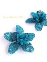 手作りアクセに☆シルク糸:イーネオヤ|大きなお花|ピーコックブルー