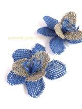 手作りアクセに☆シルク糸:イーネオヤ|大きなお花|ブルー