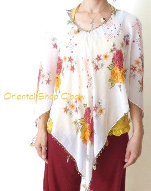 画像1: オヤのお洋服☆ポンチョ風ブラウス|ホワイト