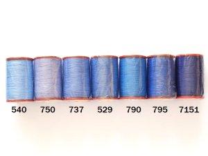 画像1: MUZ撚り済み:人工シルク糸 6本撚り糸 ブルー系・2