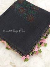 ナウルハン|アンティークイーネオヤスカーフ|シルク糸|ブラック|クヌギの葉