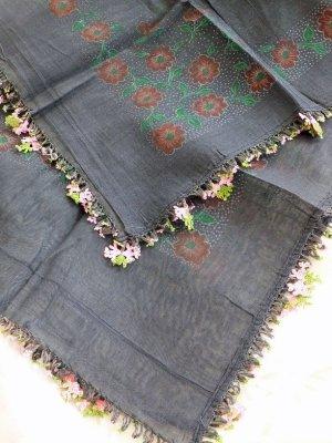 画像4: ナウルハン|アンティークイーネオヤスカーフ|シルク糸|ブラック|クヌギの葉