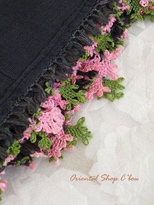 画像2: ナウルハン|アンティークイーネオヤスカーフ|シルク糸|ブラック|クヌギの葉