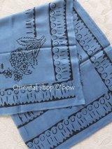 トカット|木版|スカーフ|紙の中のモチーフ|アンティークブルー