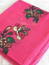 特価★スカーフ*オヤなし:ヴィンテージ Eiynet 濃ピンク・薄手