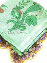 イズニック|アンティークオヤスカーフ・大ぶりイーネオヤ(シルク糸)|ライトグリーン