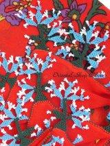 ブルサ:イズニック|アンティークオヤスカーフ|大きなイーネオヤ(人工シルク糸)|レッド×アクア