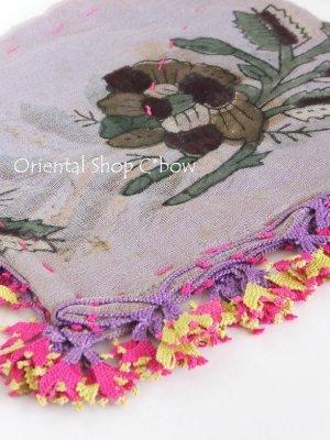画像1: ブルサ 木版アンティークオヤスカーフ・シルク糸イーネオヤ・美品 BR14