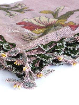 画像1: キュタフヤ・タウシャンル:アンティークオヤスカーフ|シルク糸・可愛い|K048
