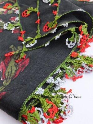 画像1: ブルサ・イズニック 木版アンティークオヤスカーフ・シルク糸イーネオヤ ブラック