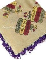 ブルサ・イズニック|木版アンティークオヤスカーフ・シルク糸|木版面白い