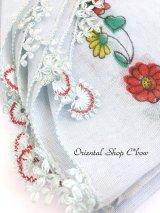 東アナトリア・エラズー|アンティークオヤスカーフ|シルク糸イーネオヤ|スカイブルーグレー