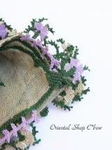 キュタフヤ・タウシャンル:木版アンティークオヤスカーフ|シルク糸・細かい|モスグリーン