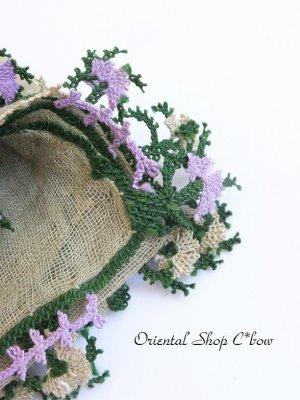 画像1: キュタフヤ・タウシャンル:木版アンティークオヤスカーフ|シルク糸・細かい|モスグリーン