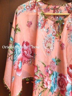 画像1: オヤのお洋服☆ポンチョ風ブラウス|さくらんぼ|コーラルピンク