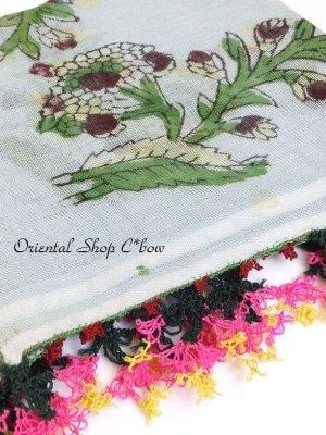 画像1: ブルサ・イズニック 木版アンティークオヤスカーフ・シルク糸 スカイブルー