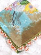 カッパドキア地方:フィルケテオヤスカーフ:大判|デジタル印刷・スカイブルー・ブラウン花