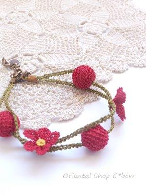 画像1: シルクイーネオヤブレスレット 花・ボール ダークピンク
