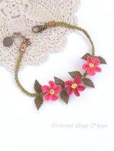 シルクイーネオヤブレスレット|3つ花|ピンク系