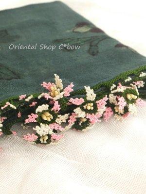 画像1: キュタフヤ・タウシャンル:木版|アンティークイーネオヤスカーフ|シルク糸|時計草