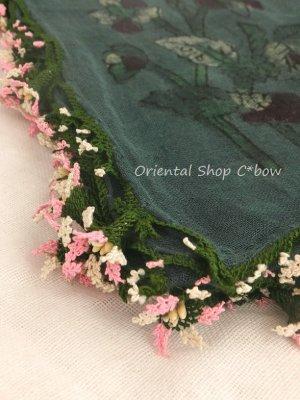画像4: キュタフヤ・タウシャンル:木版|アンティークイーネオヤスカーフ|シルク糸|時計草