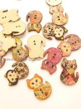 木製:ウッドプリントボタン|ネコ(ヴィンテージ調)|6個