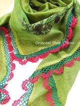 マルマラ地方:木版アンティークオヤスカーフ・色素敵|メキッキオヤ・コットン糸|グリーン