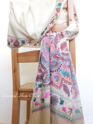 画像1: ★手織り|極上カシミア|シルク糸手刺繍・カシミアストール|ベージュ