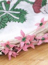 オデミシュ|アンティークオヤスカーフ|シルク糸イーネオヤ|ホワイト×ピンク