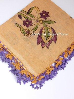 画像1: ブルサ|木版アンティークオヤスカーフ・シルク糸イーネオヤ|ペールオレンジ
