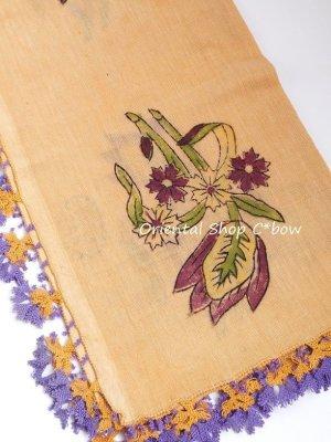 画像2: ブルサ|木版アンティークオヤスカーフ・シルク糸イーネオヤ|ペールオレンジ