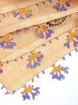 画像5: ブルサ|木版アンティークオヤスカーフ・シルク糸イーネオヤ|ペールオレンジ (5)