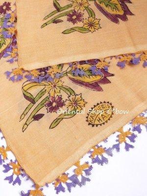 画像3: ブルサ|木版アンティークオヤスカーフ・シルク糸イーネオヤ|ペールオレンジ