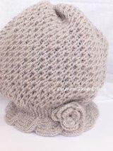 アンネの手編み★お花・毛糸の帽子|ミスティグレー