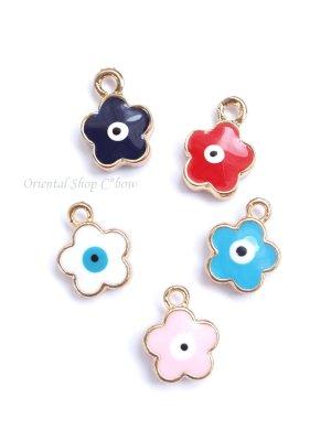 画像1: お花&ナザル|両面|ターコイズブルー・ブルー・レッド・ホワイト・シェルピンク