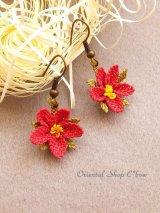 シルクイーネオヤピアス|小花|釣り下がり|ディープピンク
