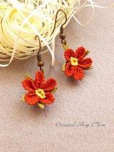 シルクイーネオヤピアス|小花|釣り下がり|トマトレッド