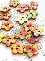 木製:ウッドプリントボタン|花|10個
