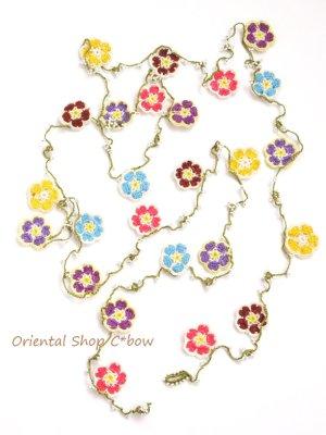 画像1: C-bowオリジナル・春色☆カラフル桜ラリエット・ロングネックレス