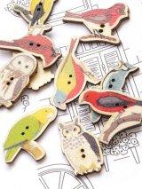 木製:ウッドプリントボタン|鳥|6個