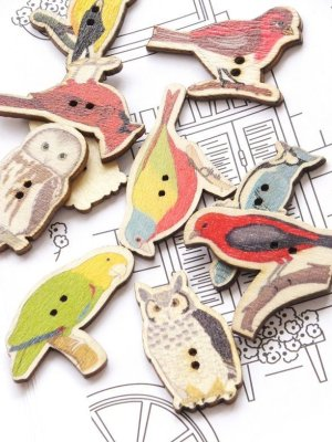画像1: 木製:ウッドプリントボタン|鳥|6個
