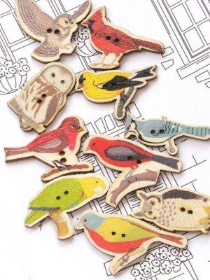 画像2: 木製:ウッドプリントボタン|鳥|6個