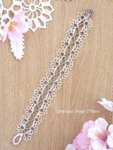 メキッキオヤブレスレット|ふわふわ花|シェルピンク
