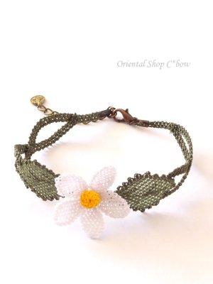 画像3: シルクイーネオヤブレスレット 白い花(編み)
