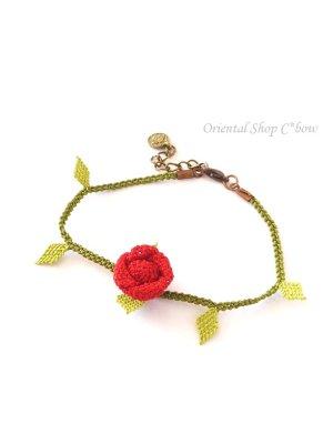 画像2: シルクイーネオヤブレスレット|1つ薔薇|レッド×ライトグリーン