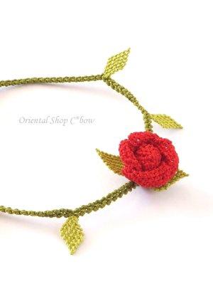 画像4: シルクイーネオヤブレスレット|1つ薔薇|レッド×ライトグリーン