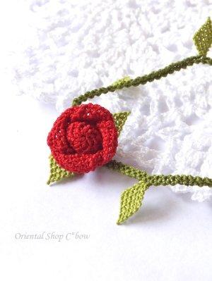 画像3: シルクイーネオヤブレスレット|1つ薔薇|レッド×ライトグリーン