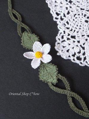 画像2: シルクイーネオヤブレスレット 白い花(編み)