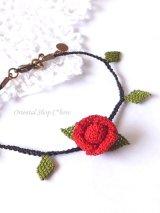 シルクイーネオヤブレスレット|1つ薔薇|レッド×ブラック
